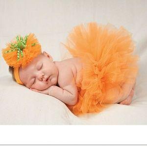 NWT Mudpie newborn pumpkin headband & tutu set